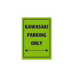 Bike It Aluminium Parking Sign - Kawasaki Parking Only