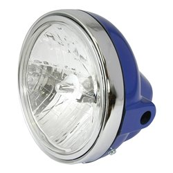 "Headlight Universal 7"" Round Solid Blue With Diamond Eye Lens 12V 35W"
