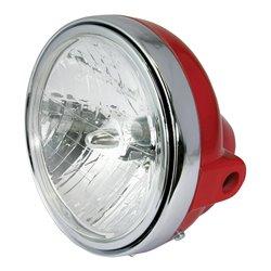 "Headlight Universal 7"" Round Red With Diamond Eye Lens 12V 35W"