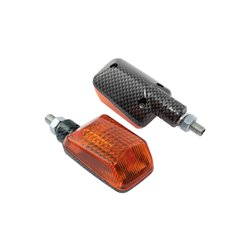 Bike It Short Stem Mini Indicators With Carbon Body And Amber Lens