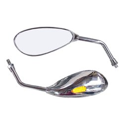 Bike It Patrol Chrome Universal Mirrors With Built In LED Indicators