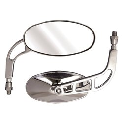 Bike It Phantom Universal Oval Chrome Mirrors With 10mm Thread