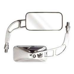 Bike It Knight Universal Rectangular Chrome Mirrors With 10mm Thread