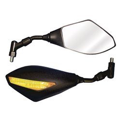 Bike It Trojan Universal Bar Mounted Mirrors With Built In LED Indicators