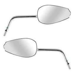 Bike It Dyna Universal High Chrome Mirrors With Reverse Thread Adaptor Option