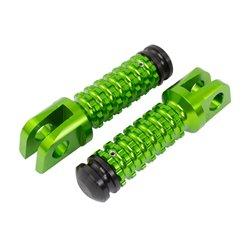 BikeTek Ally Footpegs With Slider (Pair) Kawasaki Front Green KW11F