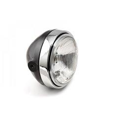 LSL Scrambler headlight, corrugated glass/H4, black/chrome