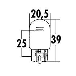 W21 / 5W gloeilamp met glazen voet 12V 21 / 5W W3x16Q