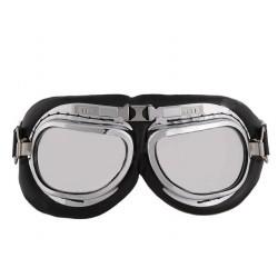 Motorbril ovaal chroom
